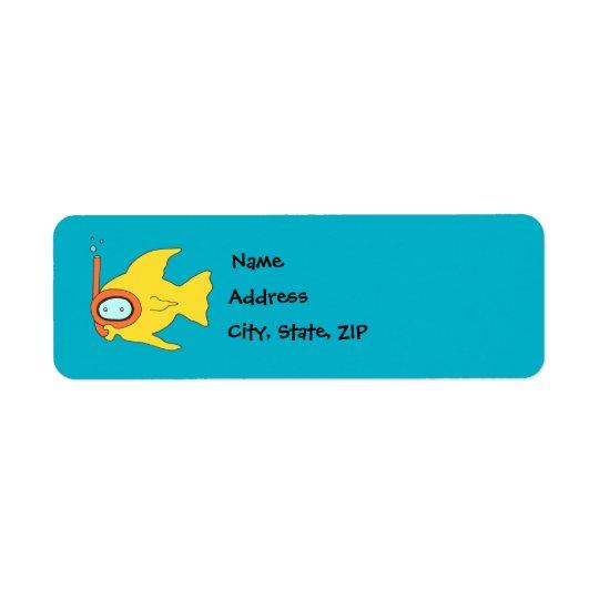 Snorkelling Swimming Yellow Fish Return Address Label