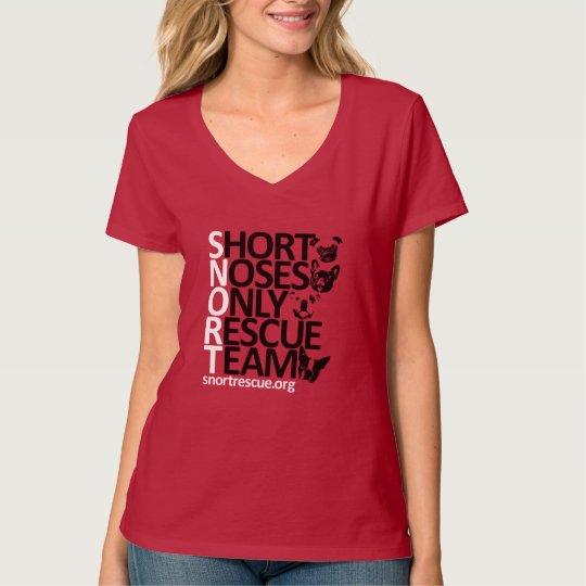 "SNORT Vertical Short Sleeve V Neck Tee ""Red"""