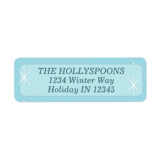 Snow Address Label Blue, White Winter