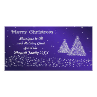 Snow and Christmas Trees Blue Photo Card