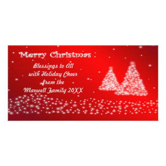 Snow and Christmas Trees Red Photo Card