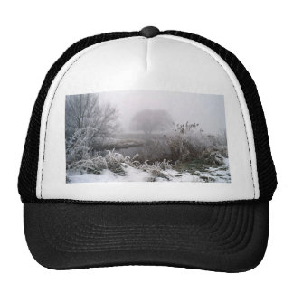 Snow and fog early morning, River Way, England Trucker Hat