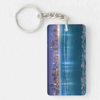 Snow and ice abound on Lake Michiga at Arctic Double-Sided Rectangular Acrylic Key Ring