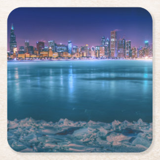 Snow and ice abound on Lake Michiga at Arctic Square Paper Coaster