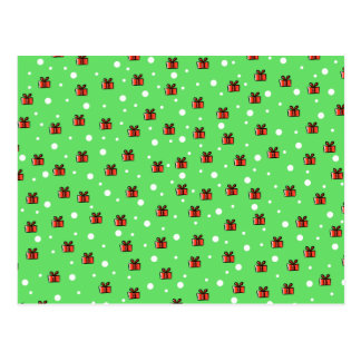Snow and Parcels Pattern on Green Postcards