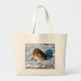 Snow and Robin Jumbo Tote Bag