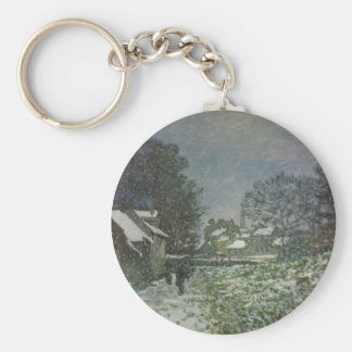 Snow at Argenteuil by Claude Monet, Vintage Art Basic Round Button Key Ring