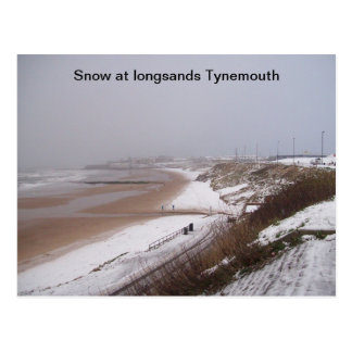 (Snow at longsands Tynemouth Postcard) Postcard