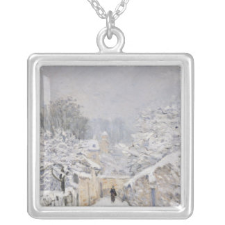 Snow at Louveciennes, 1878 Silver Plated Necklace