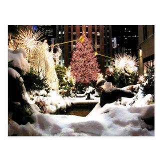 Snow at Rockefeller Center Christmas Tree Postcard