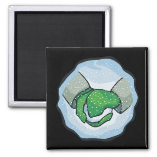 Snow Ball Square Magnet