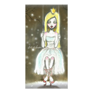 Snow Ballerina Princess Christmas Note Card Personalised Photo Card