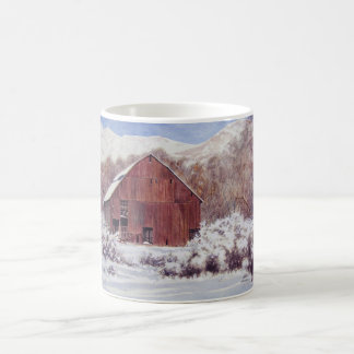 Snow Barn in the Mountains- mug