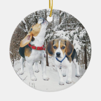 Snow Beagle Pups In Woods Christmas Ornament