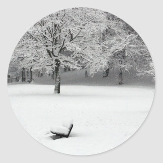 Snow bench and trees classic round sticker