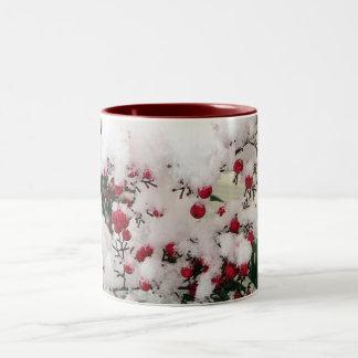 Snow Berries Two-Tone Coffee Mug