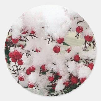 Snow Berries Round Sticker