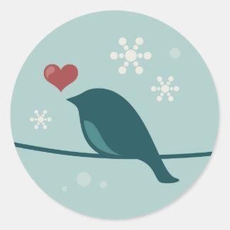 Snow Bird Round Sticker