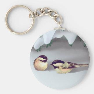 SNOW BIRDS by SHARON SHARPE Basic Round Button Key Ring