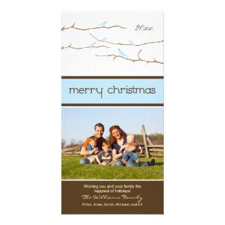 Snow Birds Merry Christmas Photocard (blue) Custom Photo Card