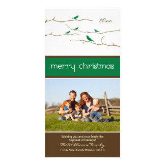 Snow Birds Merry Christmas Photocard (green) Personalized Photo Card