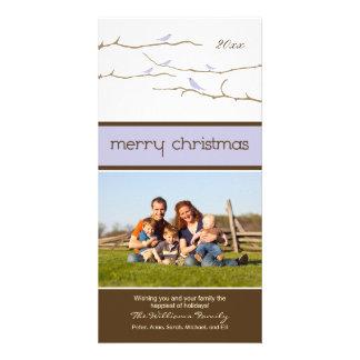 Snow Birds Merry Christmas Photocard (lavender) Customized Photo Card