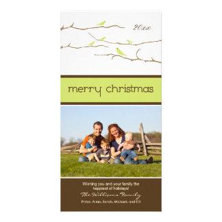 Snow Birds Merry Christmas Photocard (lime) Photo Card Template