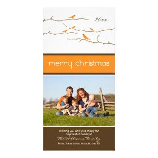 Snow Birds Merry Christmas Photocard (orange) Personalized Photo Card