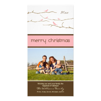 Snow Birds Merry Christmas Photocard (pink) Personalized Photo Card