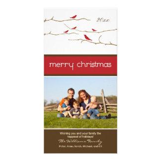 Snow Birds Merry Christmas Photocard (red) Card