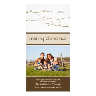 Snow Birds Merry Christmas Photocard (taupe) Photo Card