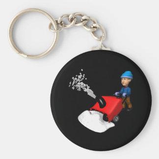 Snow Blower Basic Round Button Key Ring