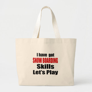 SNOW BOARDING SKILLS DESIGNS JUMBO TOTE BAG