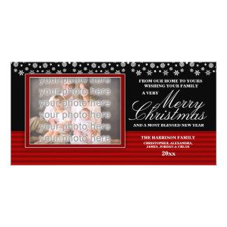 Snow Border Family Christmas Photocard Personalised Photo Card