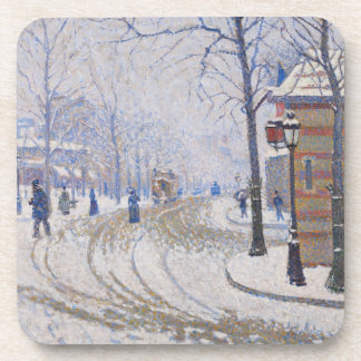 Snow, Boulevard de Clichy, Paris, 1886 Beverage Coasters
