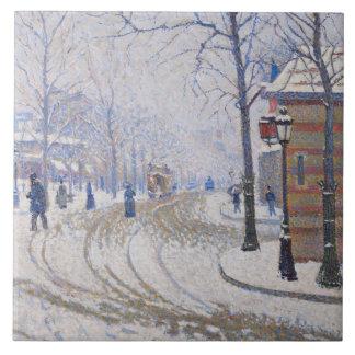 Snow, Boulevard de Clichy, Paris, 1886 Large Square Tile
