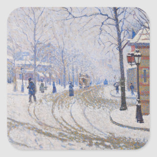 Snow, Boulevard de Clichy, Paris, 1886 Square Sticker