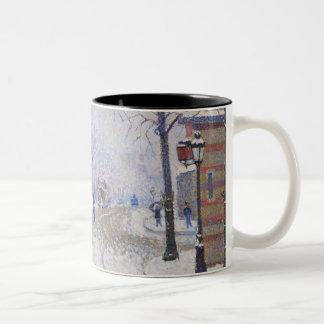 Snow, Boulevard de Clichy, Paris, 1886 Two-Tone Coffee Mug