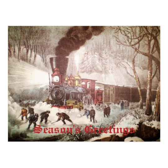 Snow Bound Train Christmas Postcard