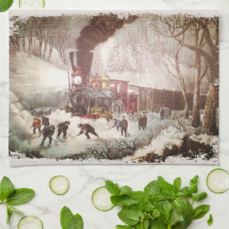 Snow Bound Train Kitchen Towel