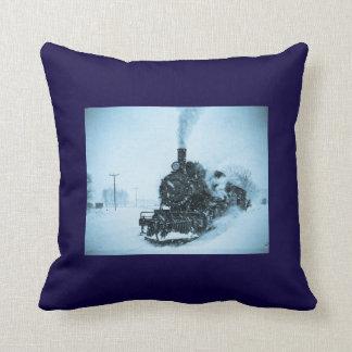 Snow Bound Train Vintage Winter Railroad Cushion