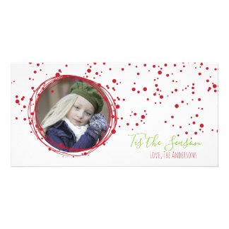 Snow Bubbles Holiday Wreath Photo Card