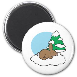 Snow Bunny 6 Cm Round Magnet