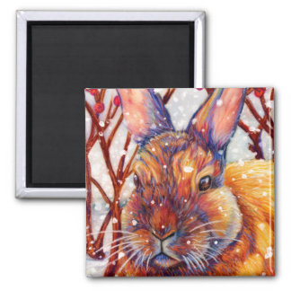 Snow Bunny Rabbit Magnet