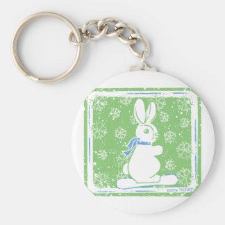 Snow Bunny Snow Boarding Basic Round Button Key Ring