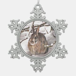 Snow Bunny Snowflake Pewter Christmas Ornament