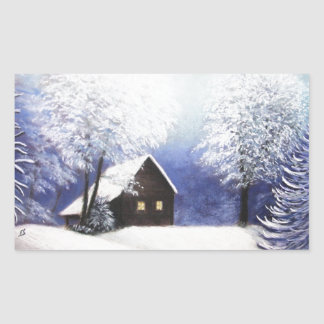 snow cabin winter landscape in pastel rectangular stickers