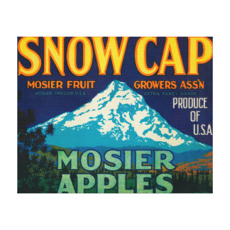 Snow Cap Apple Crate LabelMosier, OR Canvas Print