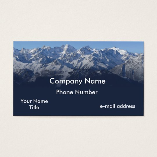 Snow cap mountains photograph business card