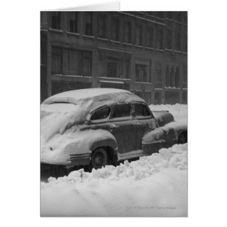 Snow capped car on street B&W Card